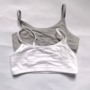Old Navy girl's white and grey cami bras.